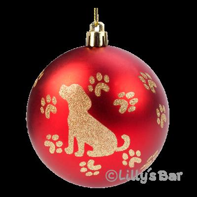 Weihnachtskugeln hund rot 6er set lilly s bar for Weihnachtskugeln bilder