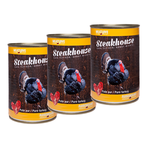 3 x 400g Steakhouse Pute pur