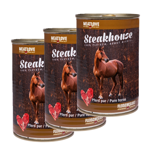 3 x 400g Steakhouse Pferd pur