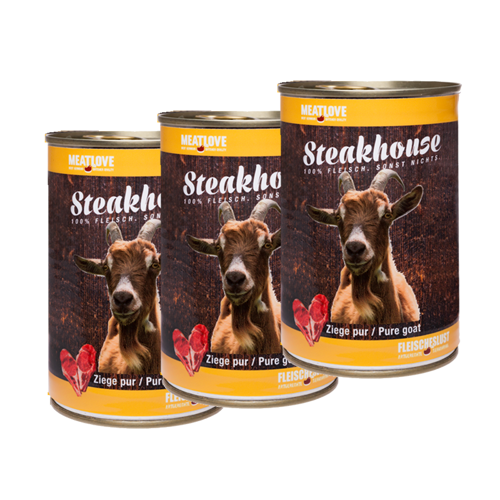 3 x 400g Steakhouse Ziege pur